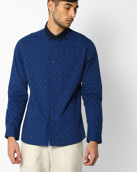 Regular Fit Shirt With Button-Down Collar By NETPLAY ( Navy )