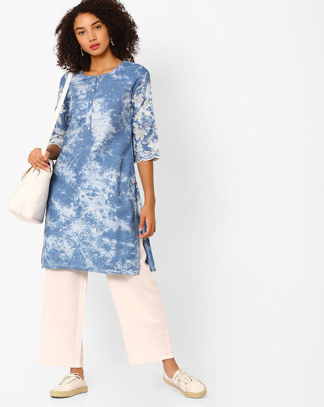 Straight Kurta With Embroidered Sleeves By Biba ( Blue )
