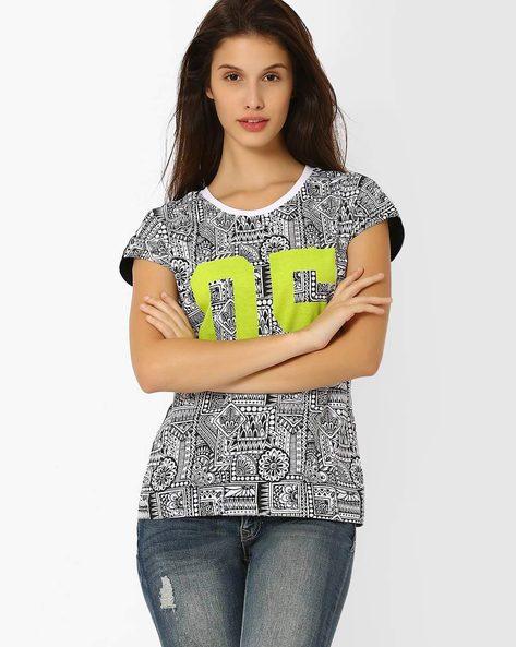Printed Round-Neck T-shirt By TEAM SPIRIT ( Black )