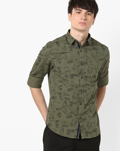 Printed Slim Fit Shirt With Curved Hemline By AJIO ( Olive )