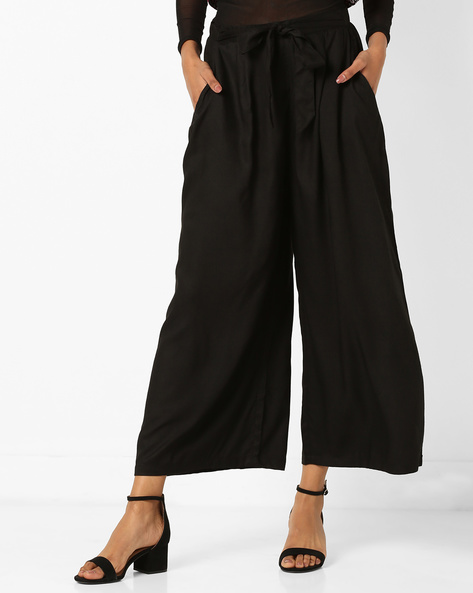 Mid-Rise Palazzos With Drawstring Waist By Bitterlime ( Black ) - 460168978001
