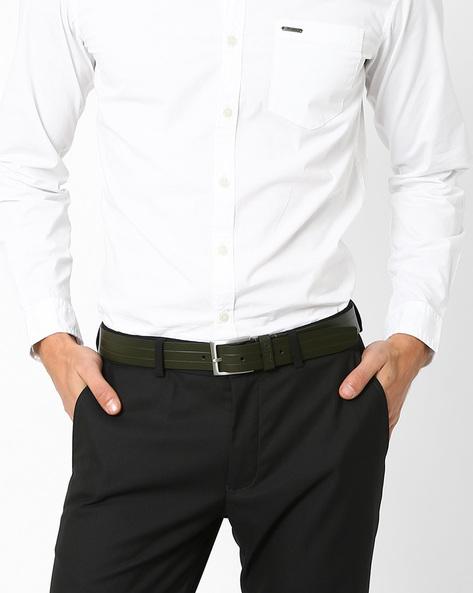 High-Gloss Genuine Leather Belt By AJIO ( Green )