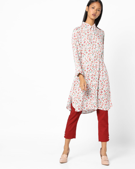 Floral Print Tunic With Tie-Up By AJIO ( White )