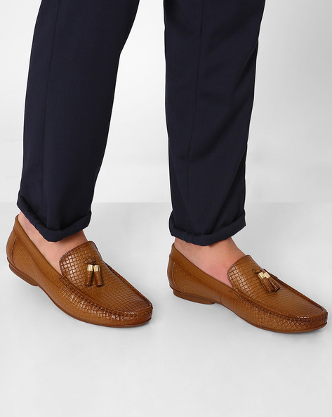 Genuine Leather Textured Loafers By VALENTINO ( Tan )