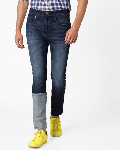 Panelled Skinny Fit Denims By ADAMO LONDON ( Blue )