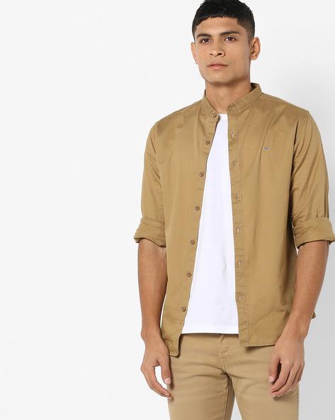 Slim Fit Shirt With Band Collar By SPYKAR ( Khaki )