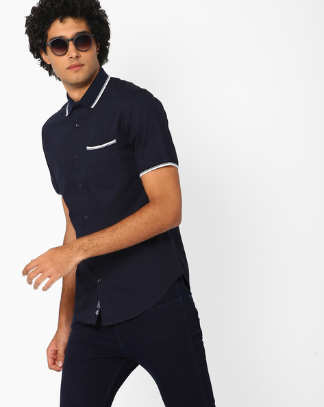 Regular Fit Shirt With Patch Pocket By Blue Saint ( Navyblue )
