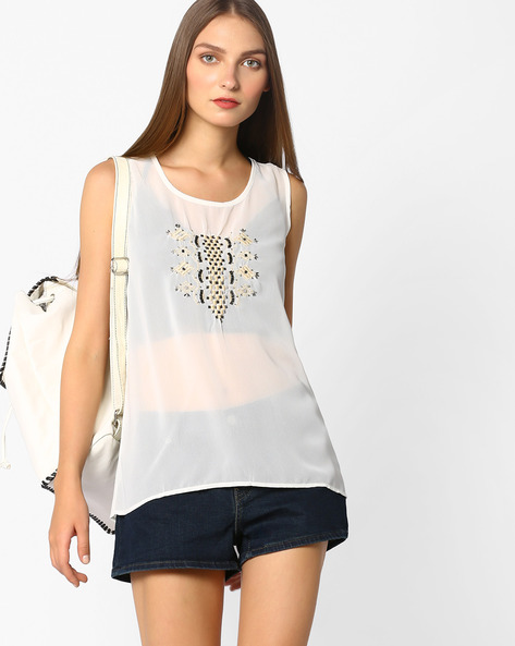 High-Low Sheer Top With Embroidery By Oxolloxo ( White )