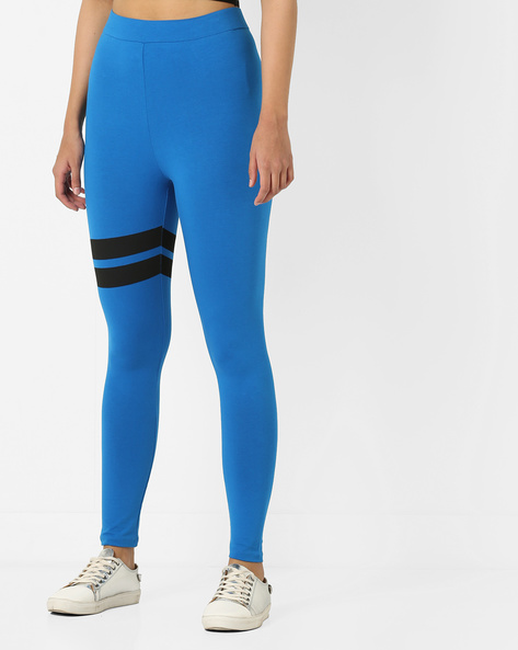 High-Rise Cotton Lycra Leggings By AJIO ( Blue )