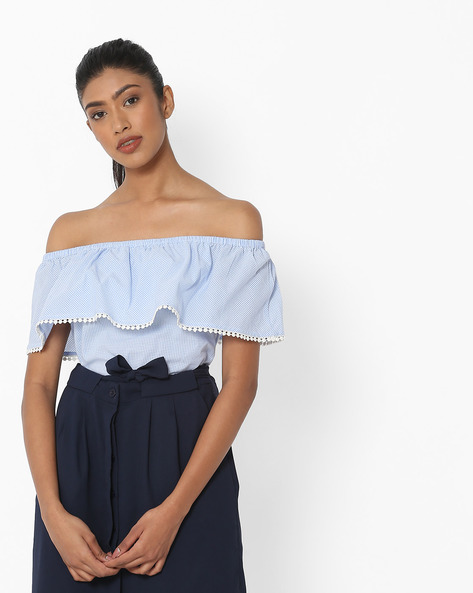 Checked Off-Shouldered Top With Bobble Trim By DNMX ( Blue )