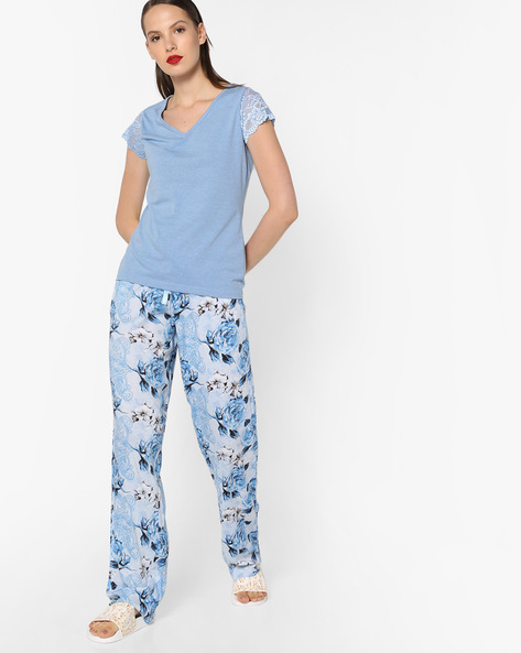 Lace Top And Printed Pyjama Set By Heart 2 Heart ( Blue )