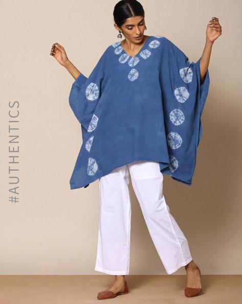 Hand Tie-Dyed Shibori Indigo Cotton Kaftan By ANANDA ( Indigo ) - 460095170003