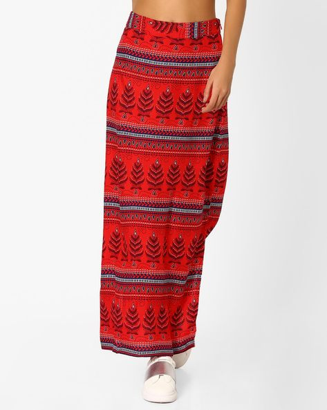 Printed Maxi Skirt By Global Desi ( Red )
