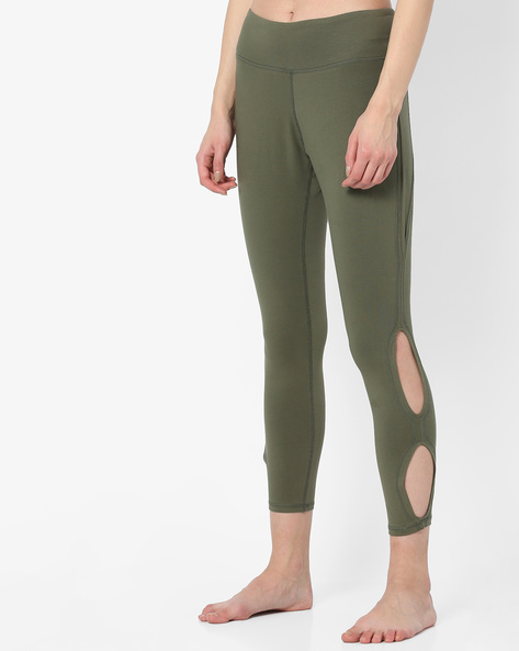 Leggings With Cut-Outs By AJIO ( Olive )