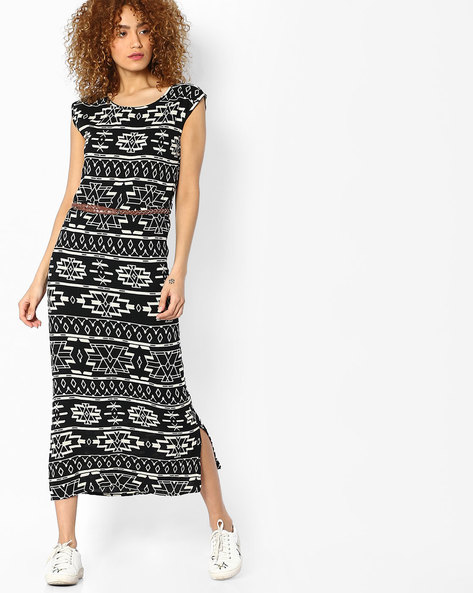 Geometric Print Midi Dress By BOSSINI ( Black )