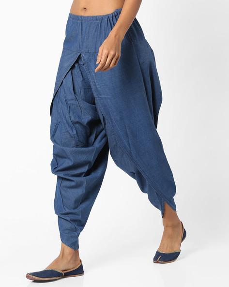 Dhoti Pants With Drawstring Waist By AJIO ( Darkblue )