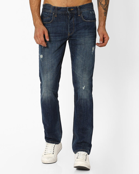 Lightly Washed Distressed Jeans By VOI JEANS ( Darkblue )