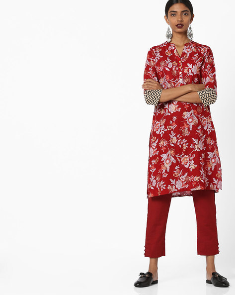 Floral Print Straight Kurta By Melange By Lifestyle ( Red )