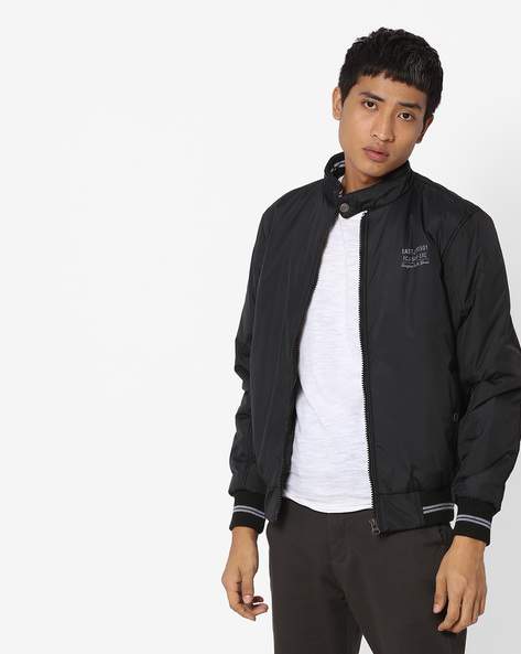 Bomber Jacket With Band Collar By Fort Collins ( Black )