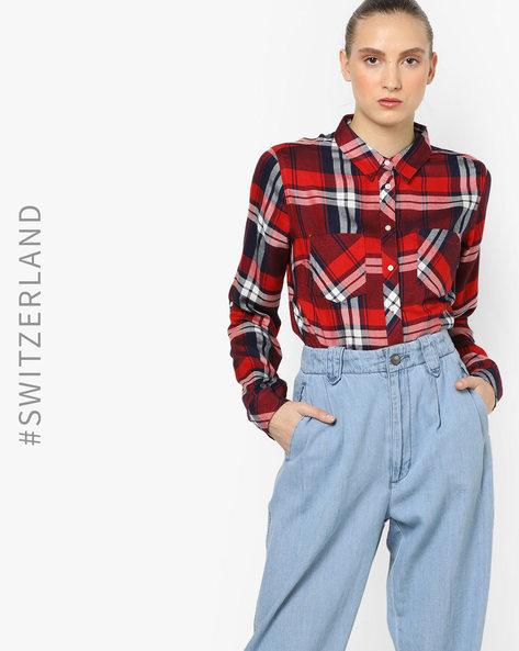 Checked Shirt-Style Top By TALLY WEiJL ( Blue )