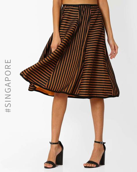 Panelled Striped Midi Skirt By MDS ( Brown )