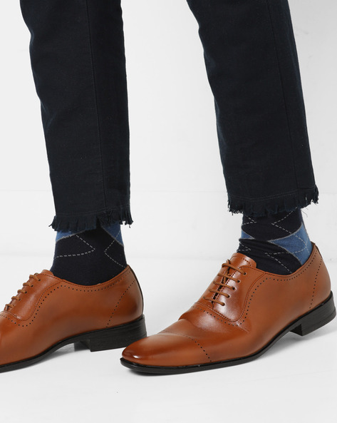 Oxford Shoes With Broguing By Modello Domani ( Tan )