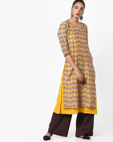 Floral Print Layered Kurta By AJIO ( Yellow )