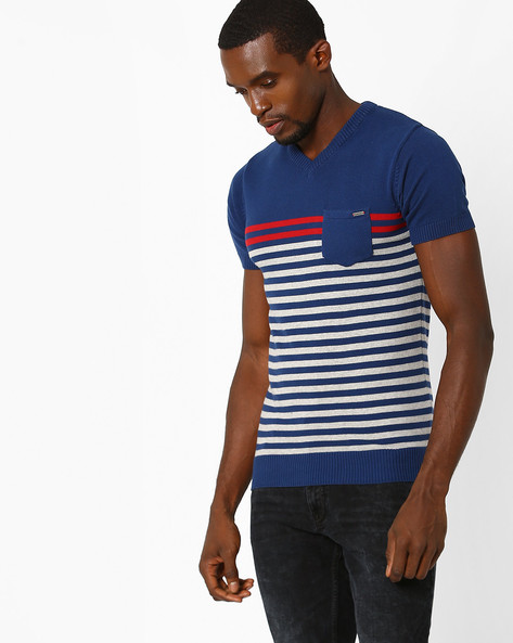 Knitted V-neck T-shirt With Patch Pocket By TEAM SPIRIT ( Blue )