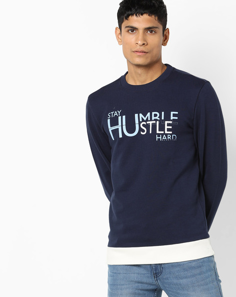 Crew-Neck Sweatshirt With Contrast Hems By UNITED COLORS OF BENETTON ( Blue )