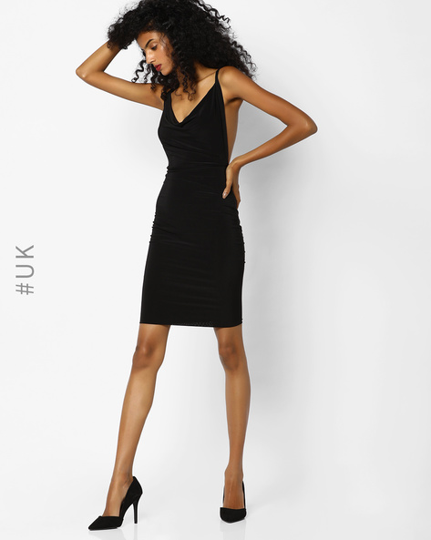Bodycon Dress With Criss-Cross Back By Rare London ( Black )