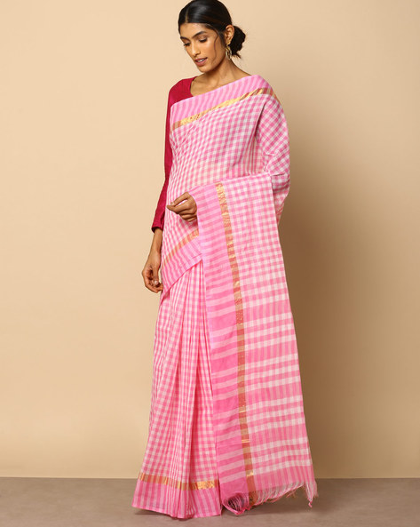 South Cotton Checked Saree With Zari Border By Indie Picks ( Red )