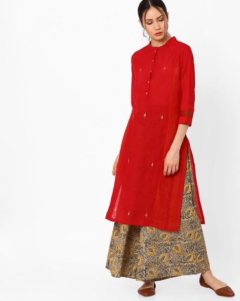 Handwoven Mangalgiri Cotton Kurta With Mandarin Collar By SWADESH ( Red )