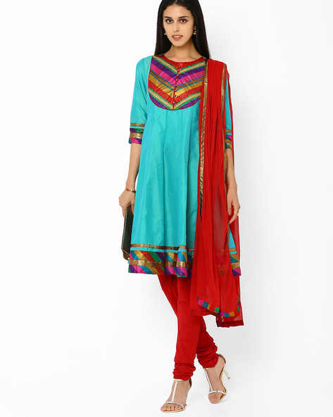 A-line Churidar Kurta With Dupatta By AJIO ( Lgtgreen )
