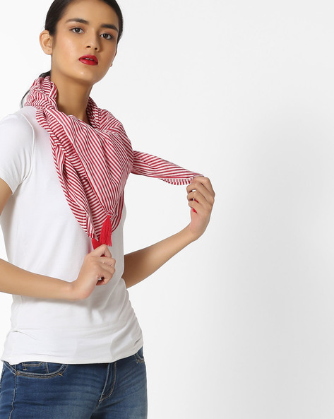 Striped Stole With Tassels By Arah ( White )