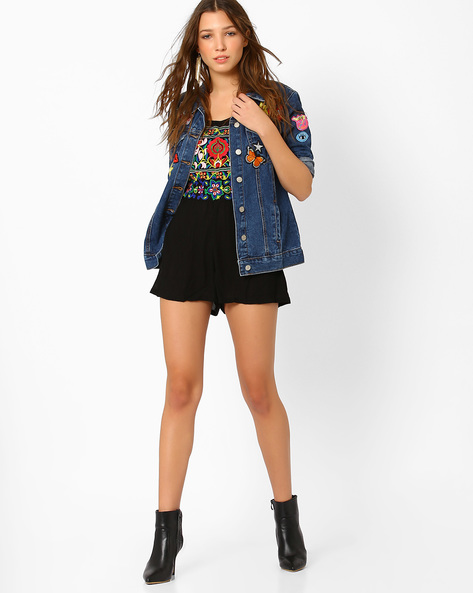 Strappy Playsuit With Embroidery By Glamorous ( Black )