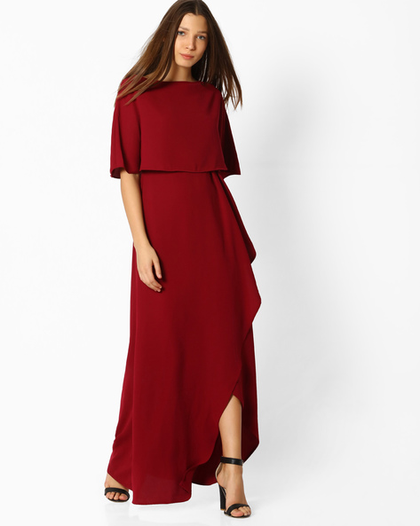 Popover Dress With Overlapping Design By Femella ( Maroon )