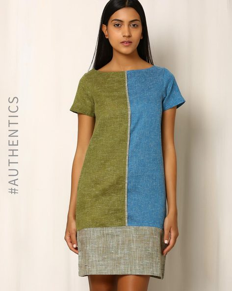 Textured Duet Khadi Cotton Dress By Red Sister Blue ( Blue )