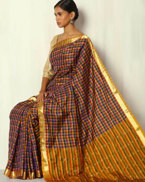 Pure Silk Mix Saree With Zari Border & Checked Striped Pallu By BANASURI ( Blue )