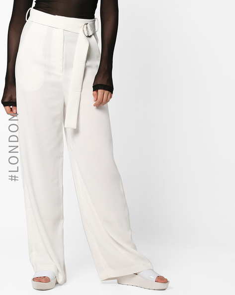 Flat-Front Pants With Fabric Belt By Glamorous ( White )