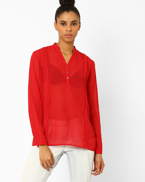 Sheer Top With Mandarin Collar By Femella ( Red )