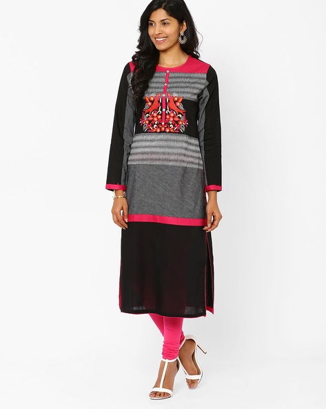 Embroidered Kurta By Rinaali Dutt Wadhwa ( Black )