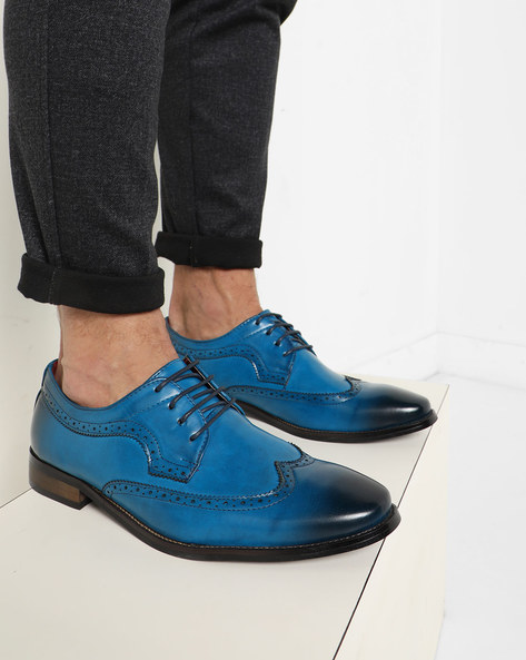 Ombre-Dyed Brogue Shoes By AJIO ( Blue )