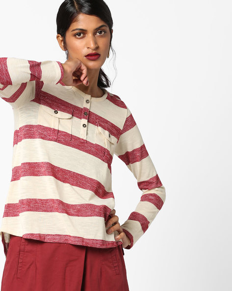Striped High-Low Top With Flap Pockets By DNMX ( Maroonburg )