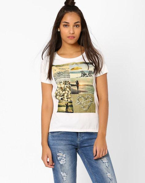 Graphic Print T-shirt By AJIO ( White )