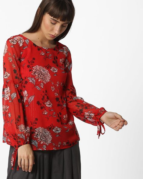 Floral Print Blouse Top With Tie-Ups By Oxolloxo ( Multicolour )