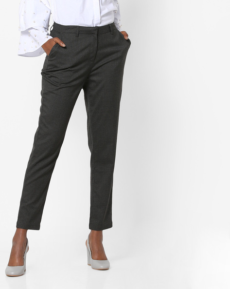 Mid-Rise Ankle-Length Trousers By AJIO ( Grey )