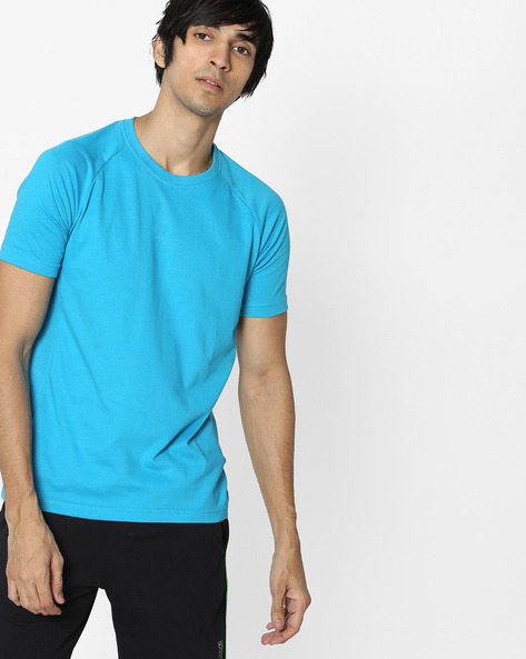 Crew-Neck T-shirt With Raglan Sleeves By HANES ( Blue )