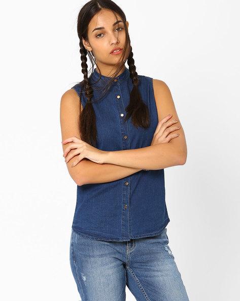 Sleeveless Denim Shirt By AJIO ( Blue )