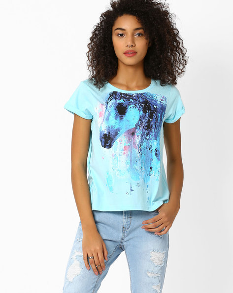 Graphic Print T-shirt By AJIO ( Navyblue ) - 460016186006