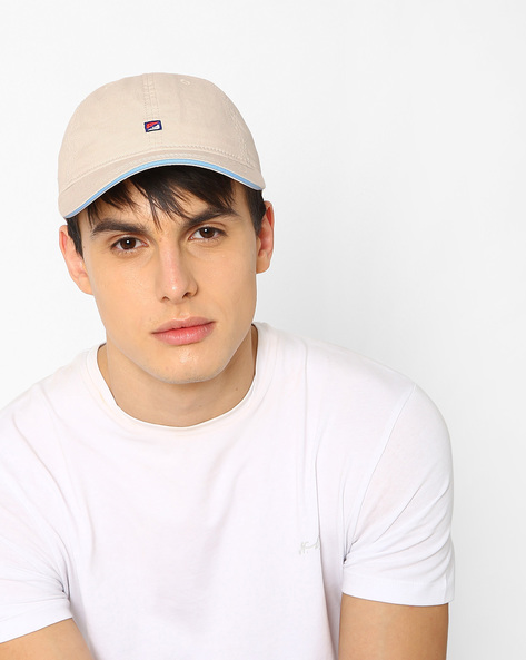 Baseball Cap With Embroidery By Feathers ( Beige )